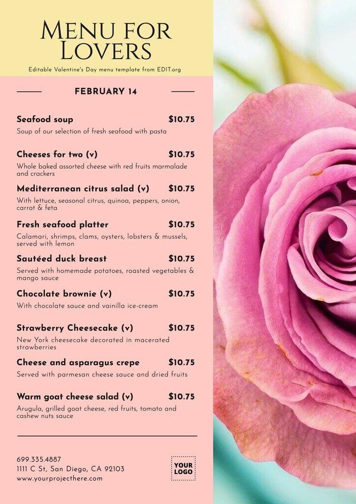 Customizable Valentine's Day dinner menu template