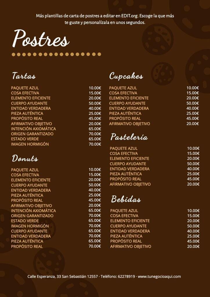 Menú de postres a editar para restaurantes editable online y gratuito