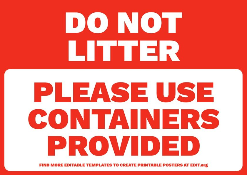 Please, Do Not Litter sign template to edit online for free