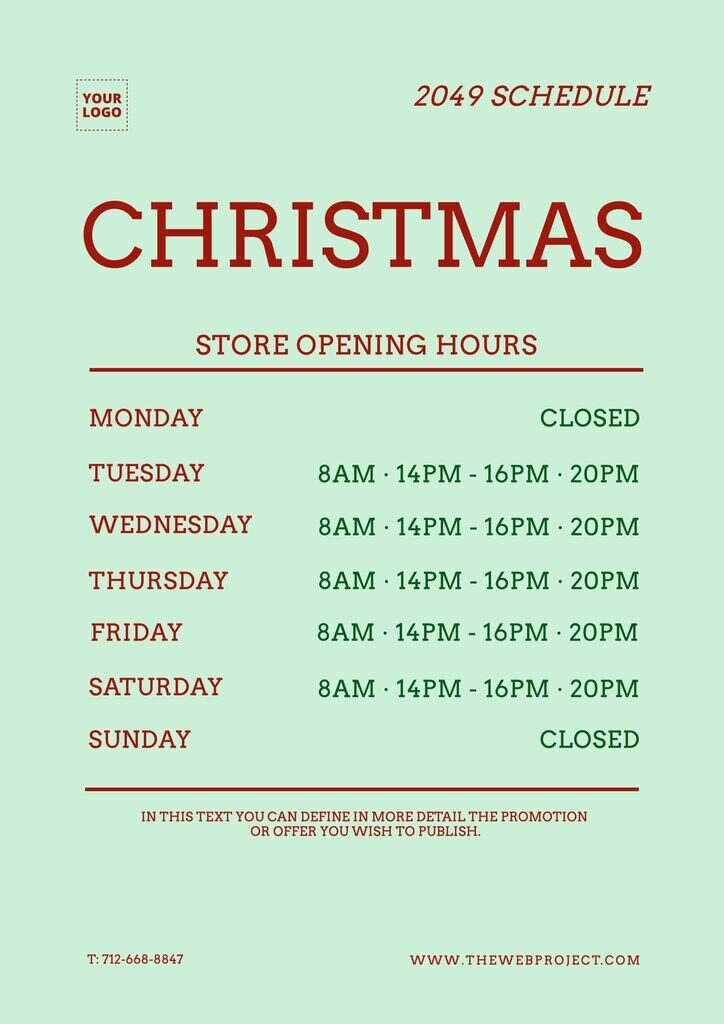 Schedule template for stores to customize online
