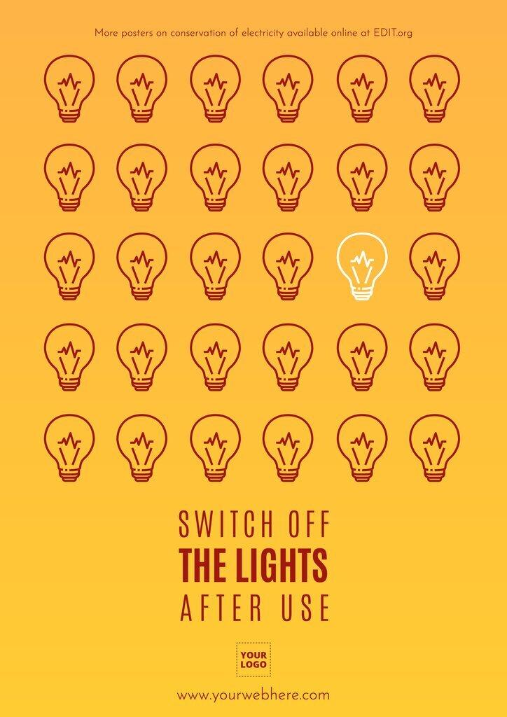 Custom poster highlighting energy conservation tips