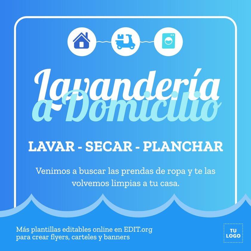 Plantilla personalizable online para promocionar servicios de lavandería a domicilio