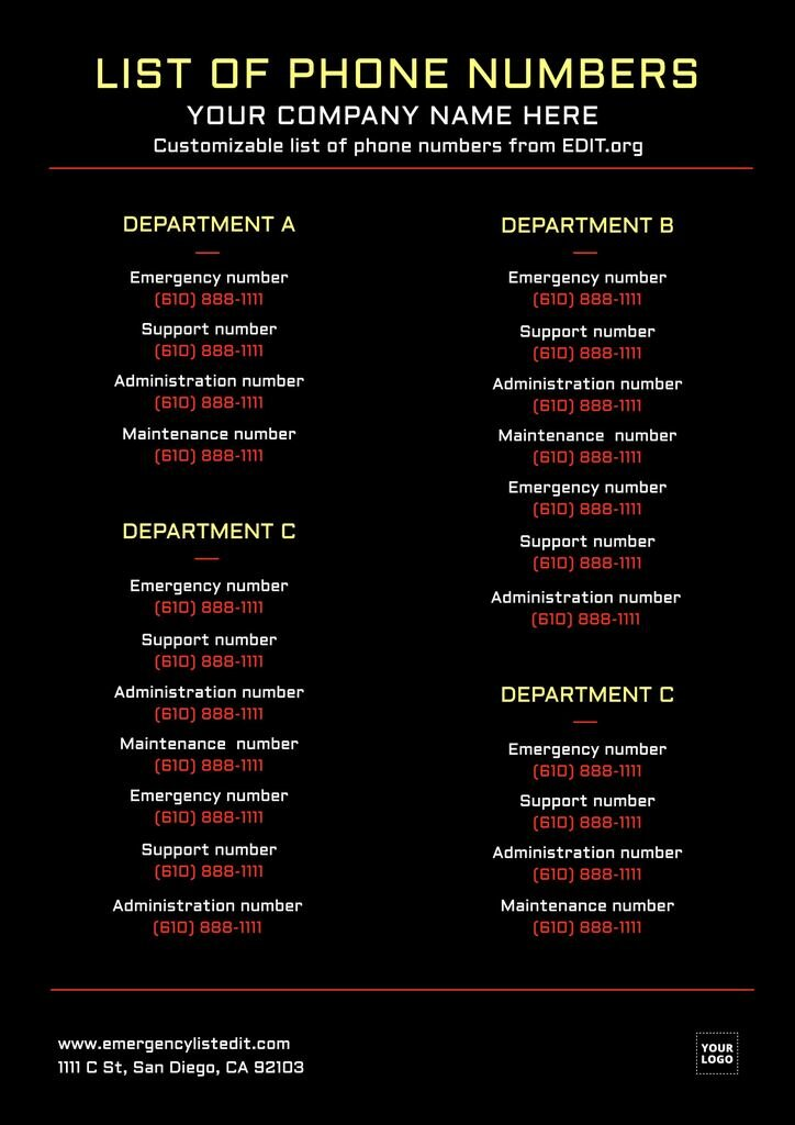 Workplace emergency contact list template