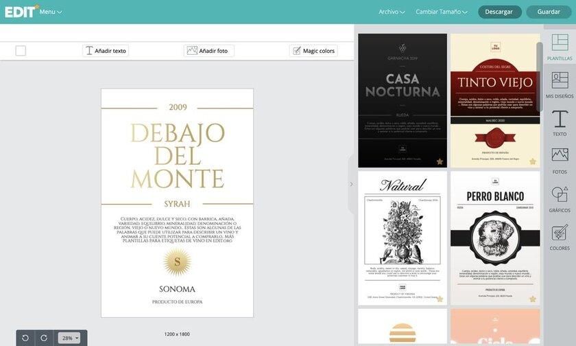 Editor online de etiquetas de vino con plantillas editables