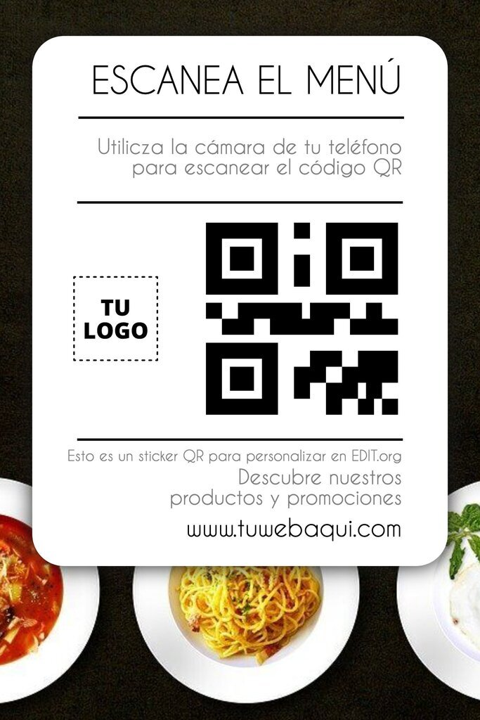 Pegatina gratis de menú QR personalizable