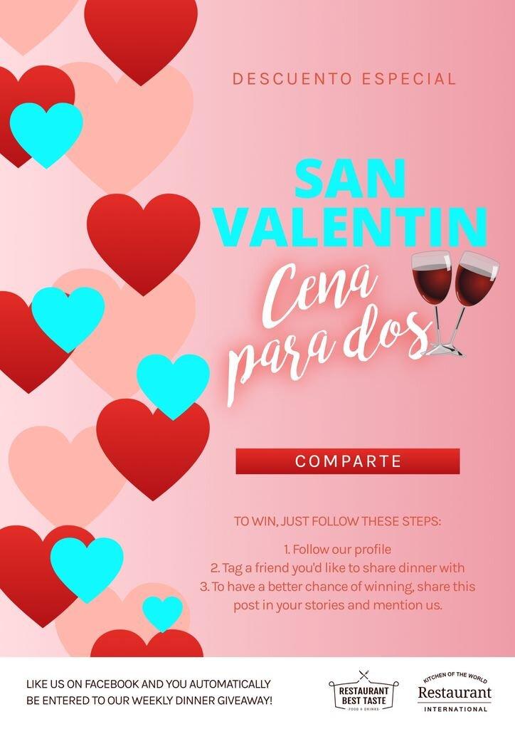 prmomociones san valentin y menus parejas restaurantes online