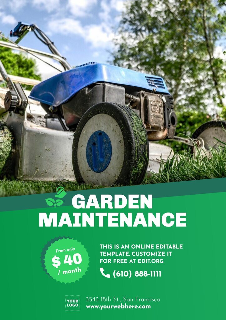 Gardening flyer template to promote maintenance services