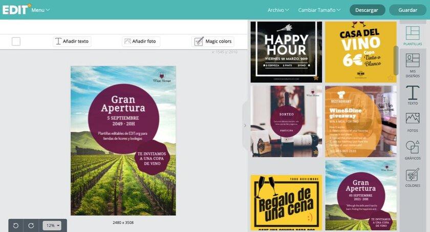 Diseños de vino y licores para bodegas personalizables gratis