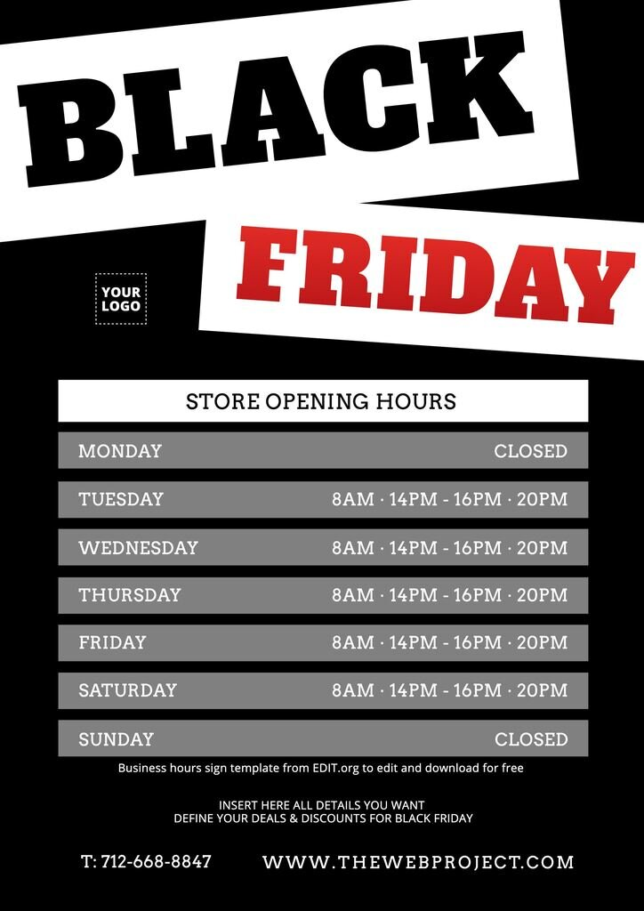Editable office hours sign for Black Friday schedule