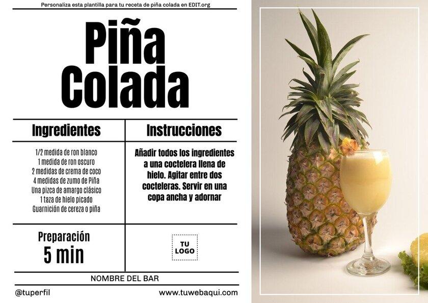 Tarjeta de receta de piña colada personalizable