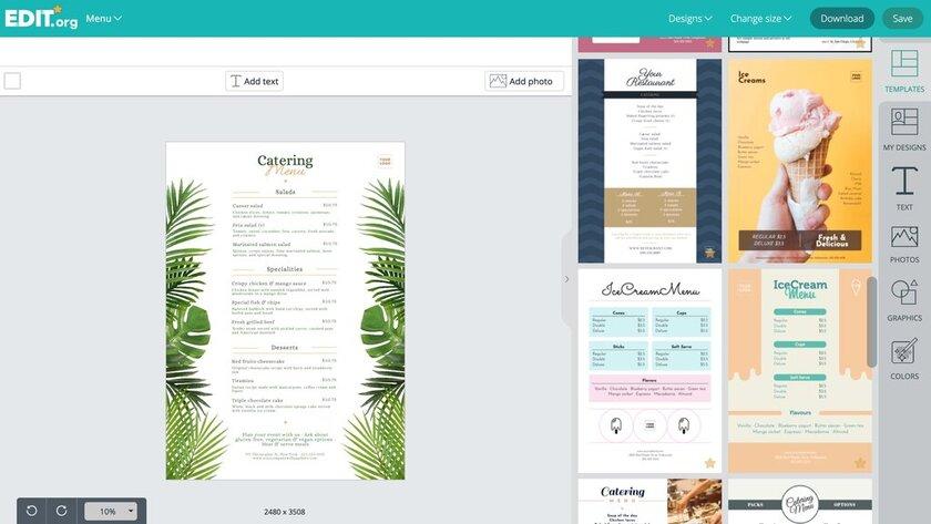 Editable graphic design templates for restaurant menus