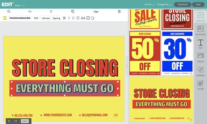 Graphic online editor EDIT.org to custom liquidation store signs