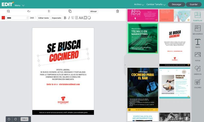 Editor gráfico online para carteles de se busca personal gratis