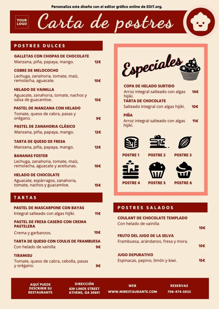 Diseño carta para postres a personalizar para restaurantes