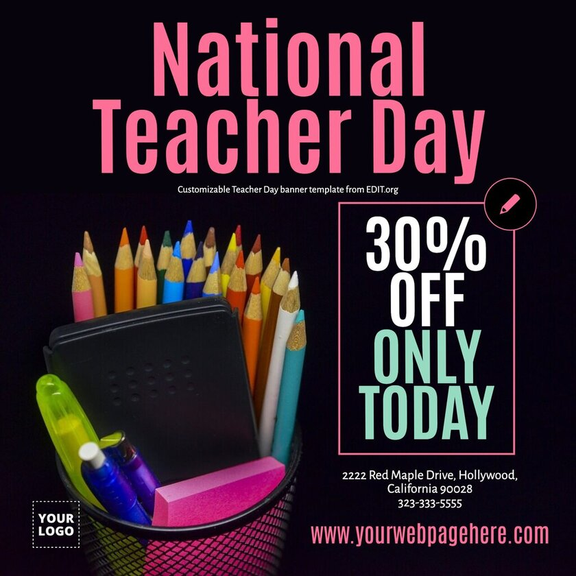 Editable Teacher Day poster for offers and discounts