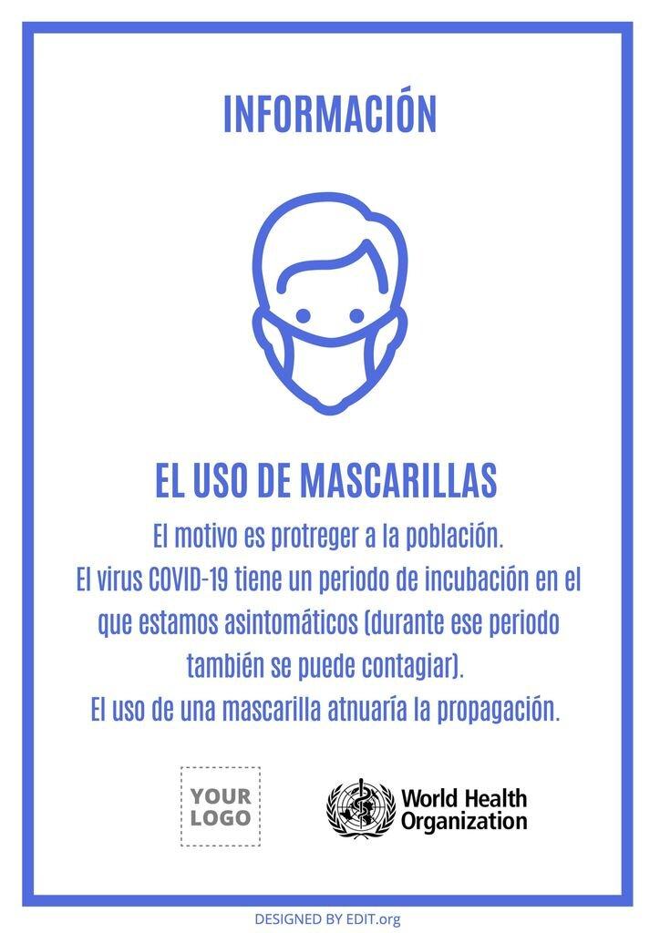 coronavirus plantilla mascarilla