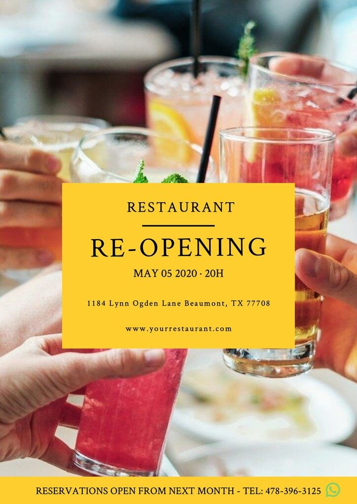 re-opening restaurant template