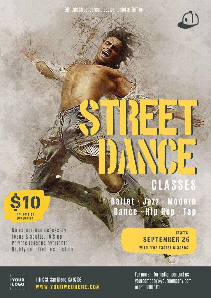 Street dance editable designs
