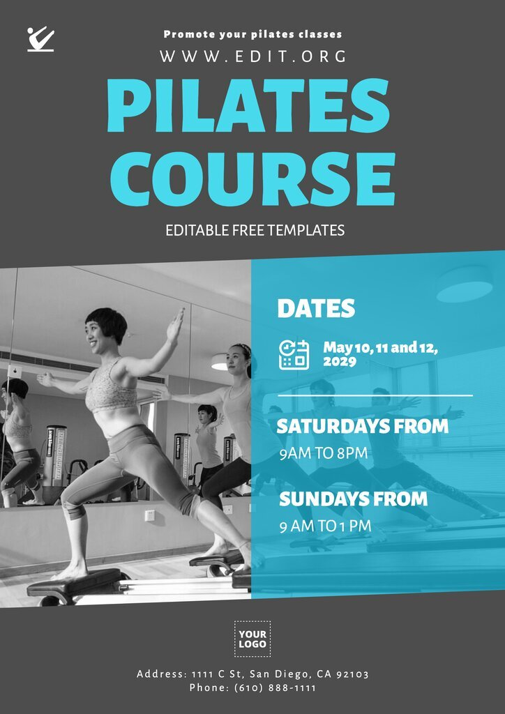 Pilates course free template to edit online