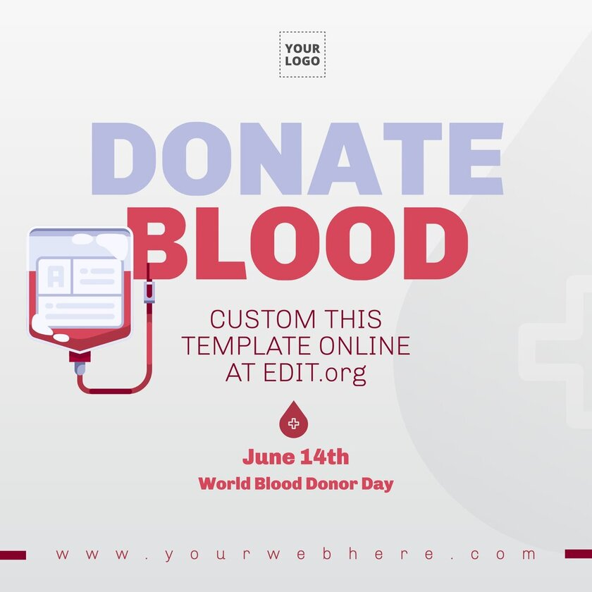 Template design to announce a Blood Drive campaign, editable online