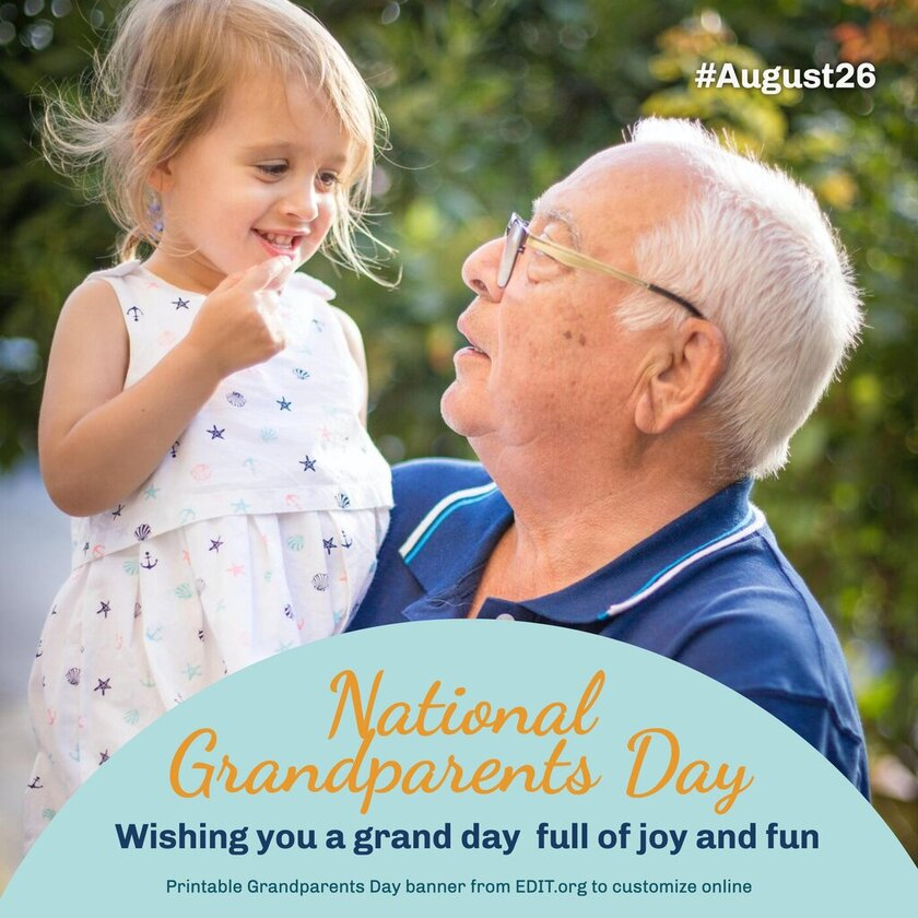 Customizable happy Grandparents Day card template