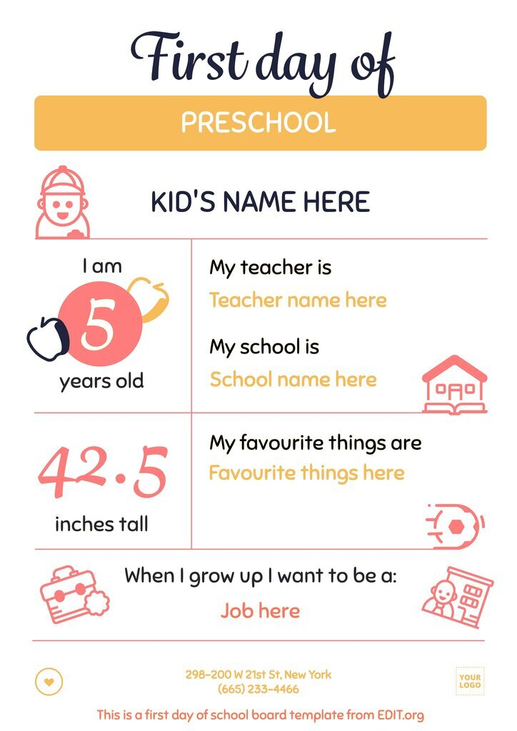 First day school poster template