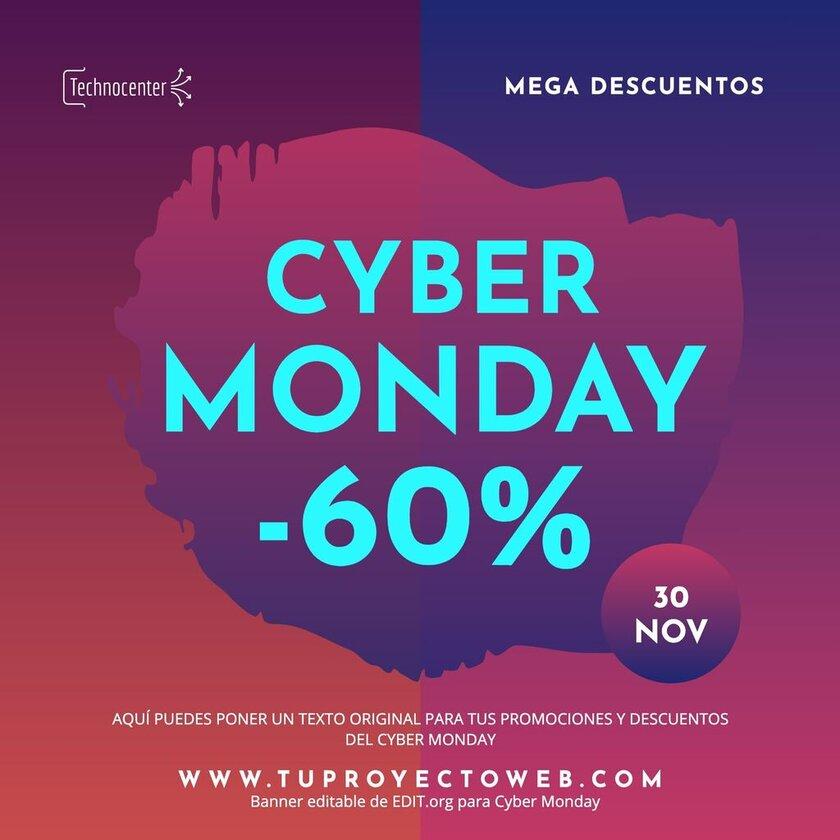 Plantilla personalizable gratis de Cyber Monday imprimible
