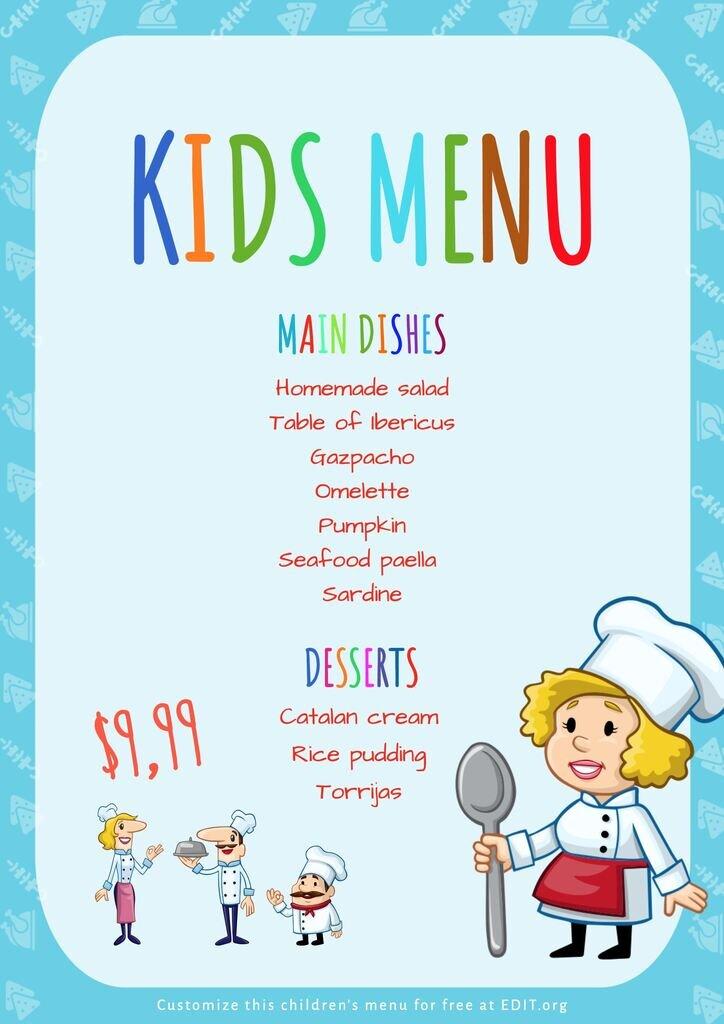 Childrens menu editable template for free