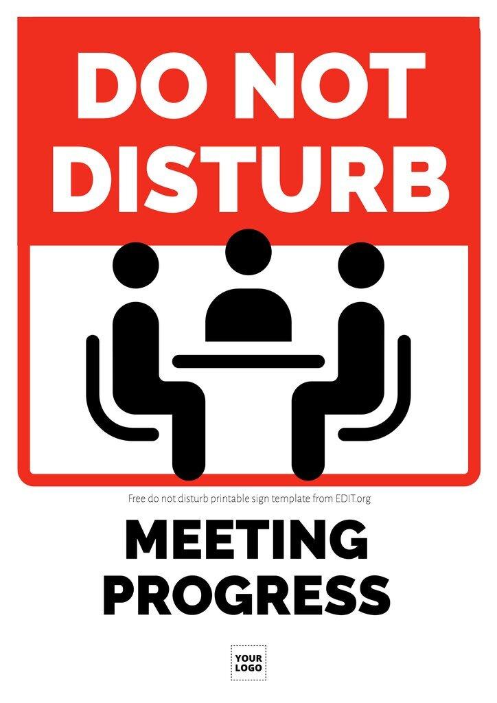 Free meeting in progress do not disturb template printable