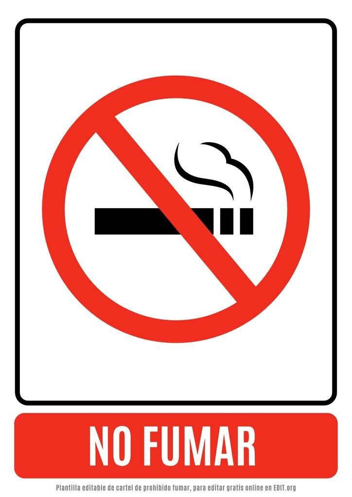 Plantilla de cartel de no fumar para imprimir gratis