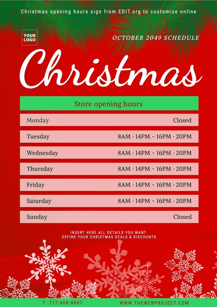 Editable Christmas office hours sign template
