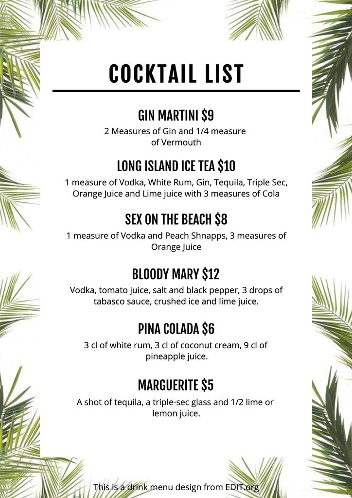 Free drink menu template to customize online