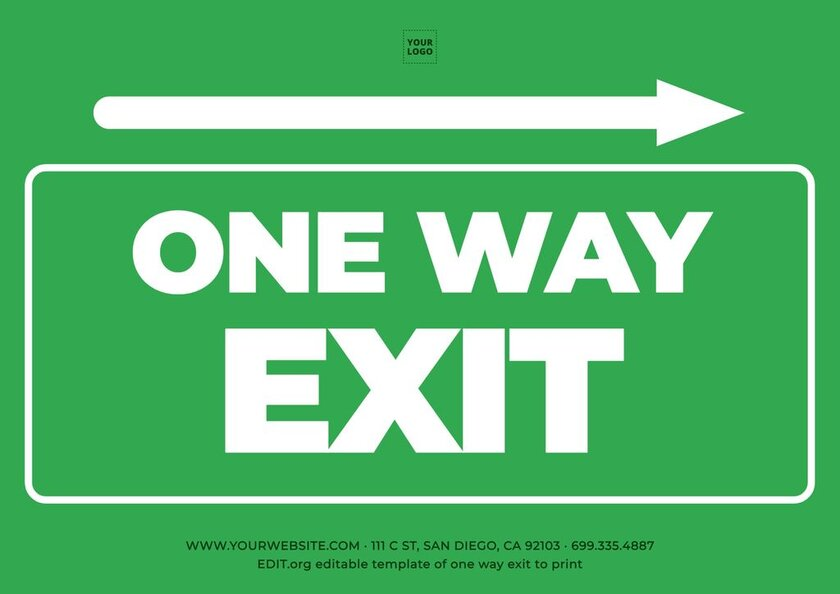 Customizable one way exit sign to print