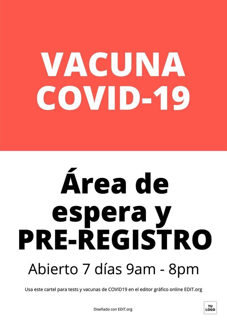 Cartel editable online para pruebas, tests y vacunas COVID19