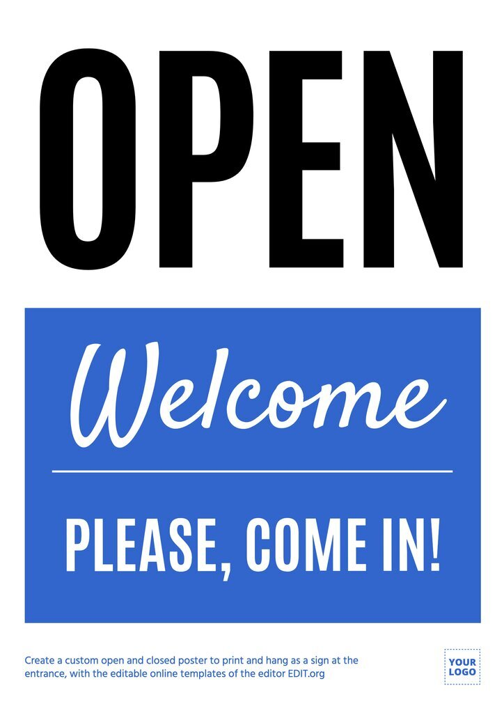 Welcome, we're open, editable sign template customizable online, download for free, print and hang