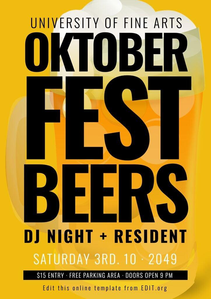 Oktoberfest party poster editable template