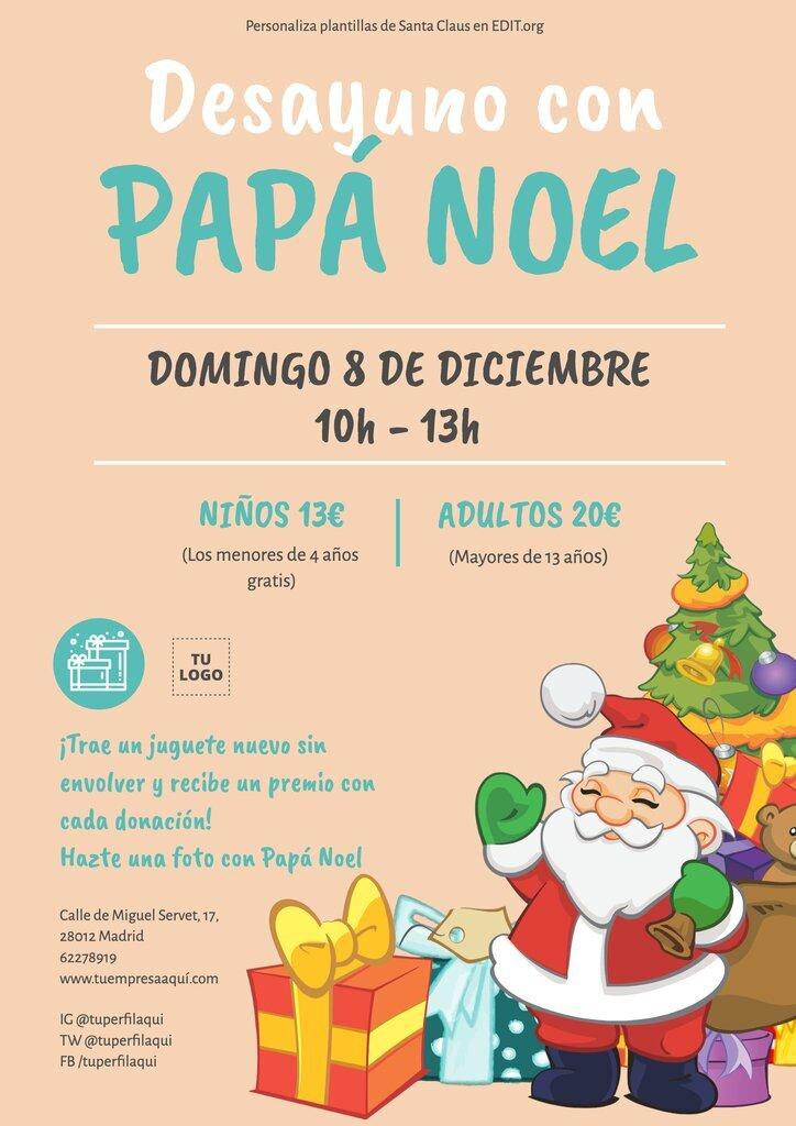 Carteles de desayuno con Papá Noel imprimible y gratis