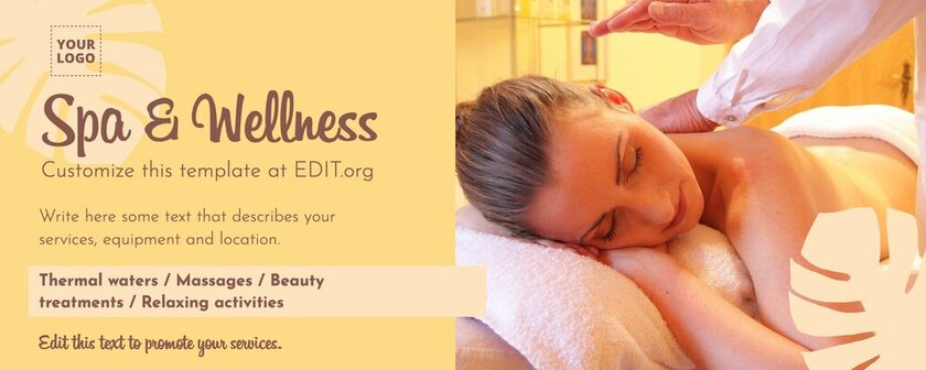 Facebook cover to promote Spa and Wellness services