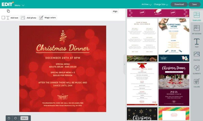 Christmas Menu Templates online graphic free editor
