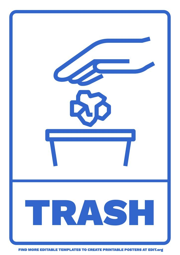 Trash can sign to avoid littering, to customize online for free