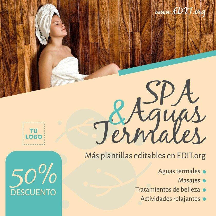 Plantilla editable con imagen de chica en la sauna para crear flyers y folletos para Spa y Aguas termales