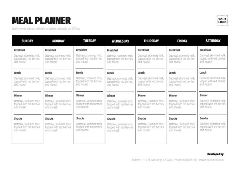 Editable family meal plan template