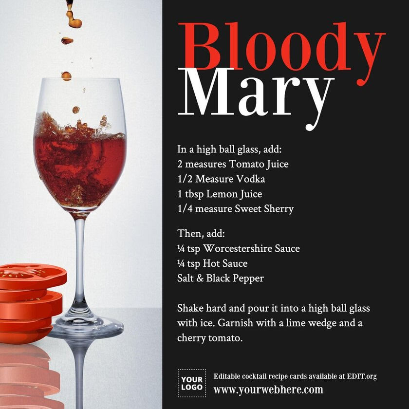 Cocktail recipe card templates
