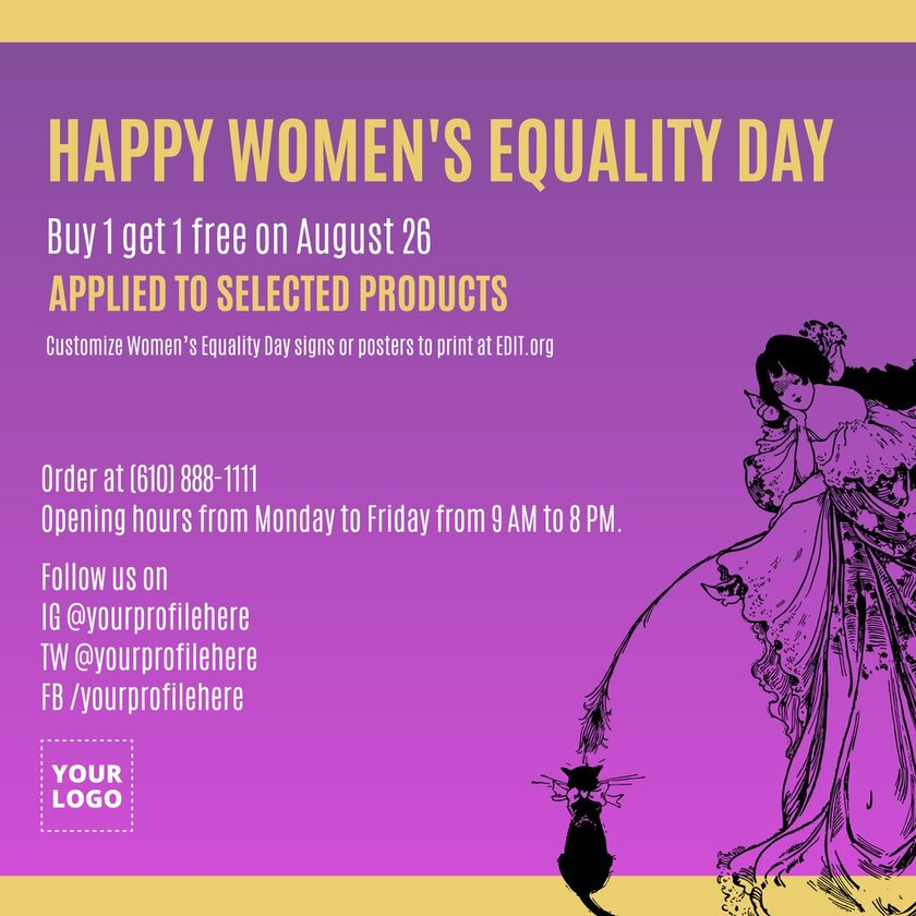 Free banner template for Women's Day on August