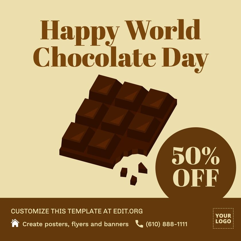 Chocolate Day banner template to edit online for free