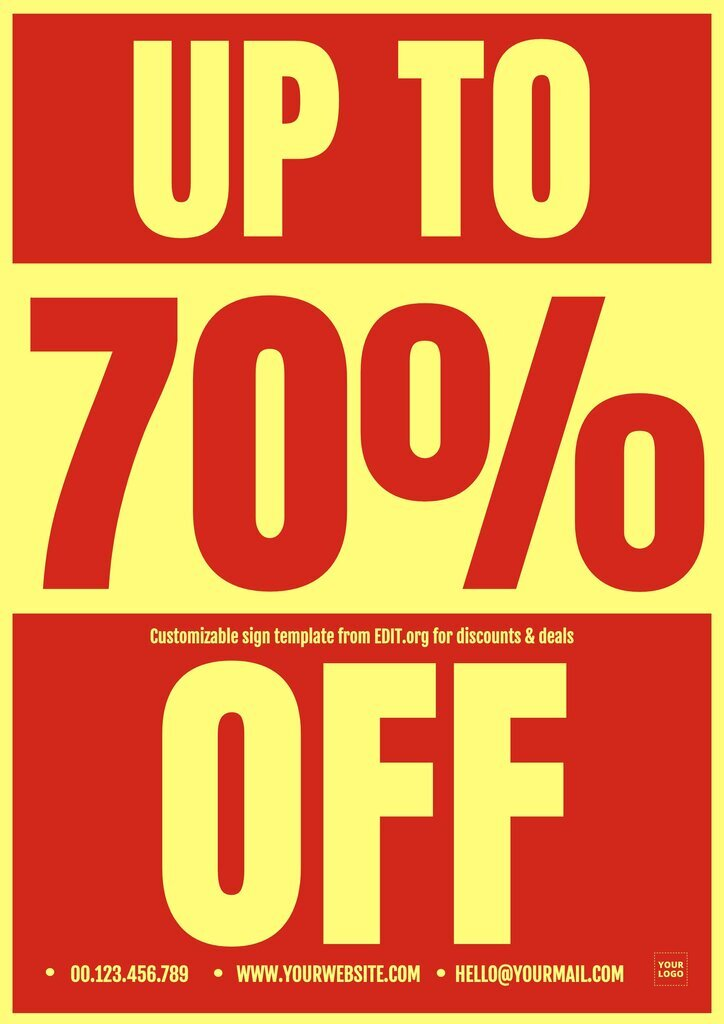 Editable poster for discounts and deals