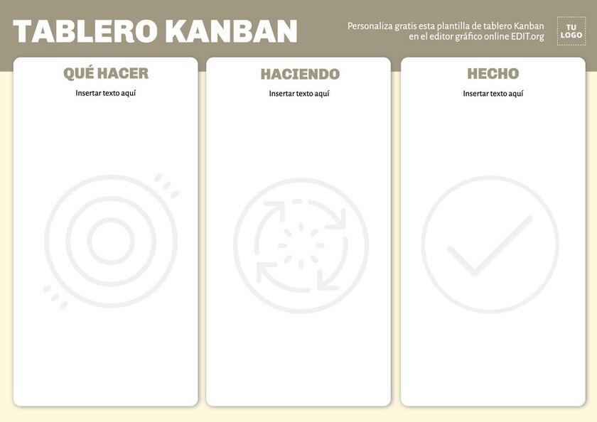 Plantilla gratis para crear tableros Kanban personalizados online para imprimir