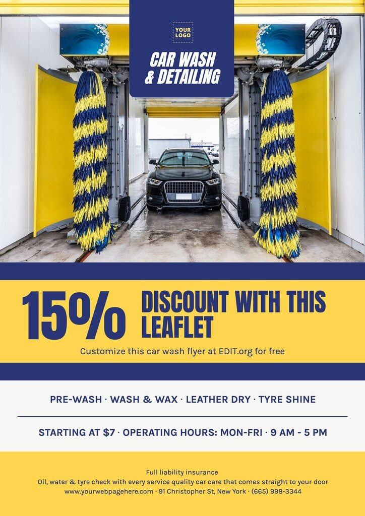 Free mobile car wash business cards, flyers and posters
