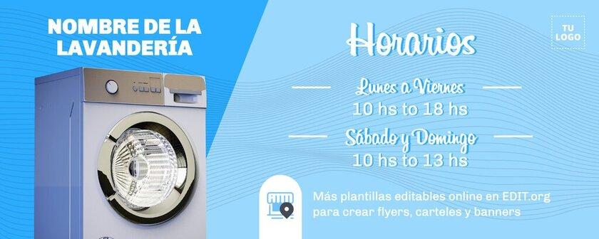 Plantilla editable online para crear una portada de facebook con Horarios de Lavandería