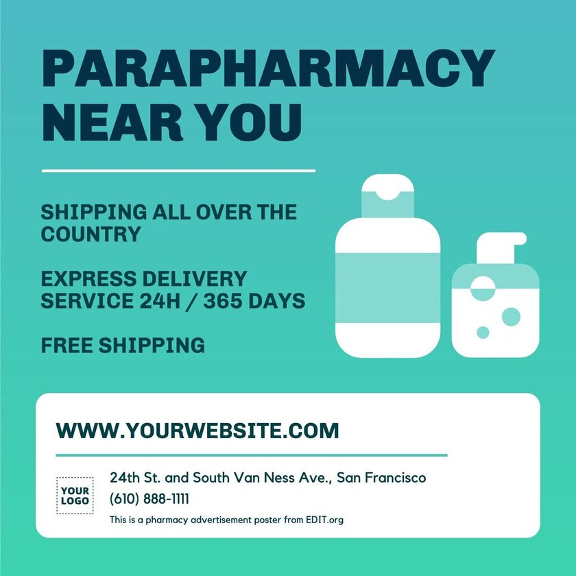 Editable pharmacy advertisement poster